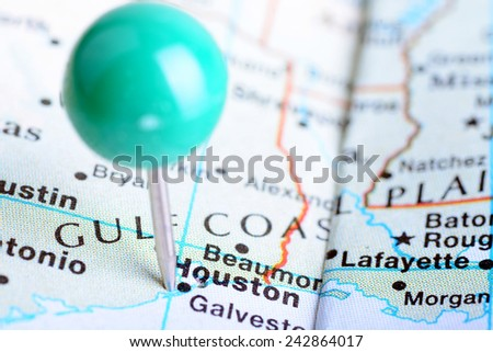 Macro shot of a map showing the city of  Houston, Texas. - stock photo