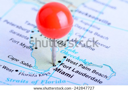 Macro shot of a  map showing the city of Miami - stock photo