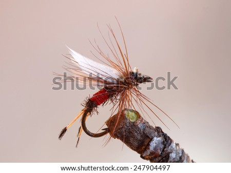 Macro shot of a red dry fly fishing lure used for trout fishing - stock photo