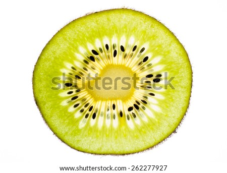 Macro shot of a slice of kiwi fruit - stock photo