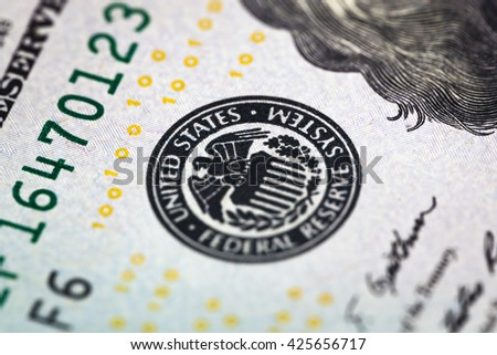 Macro shot of United States Federal Reserve System - stock photo