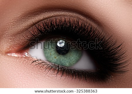 Macro shot of woman's beautiful eye with extremely long eyelashes. Sexy view, sensual look. Female eye with long eyelashes. Eyelashes extensions. Perfect make-up - stock photo
