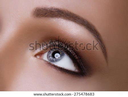 Macro Shot of Young European Woman's Beautiful Eye. Elegance CloseUp of Female Eye with Classic Dark Brown Smoky Eye MakeUp. Beauty, Cosmetics and Makeup. Brown Eyeshadow on Eyelid.  - stock photo