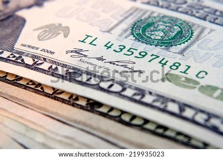 macro shot with twenty dollar bill . - stock photo
