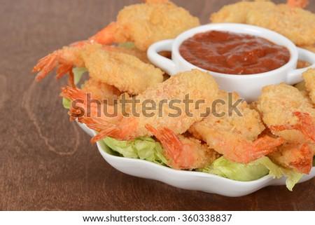 macro shrimp and sauce shallow DOF - stock photo