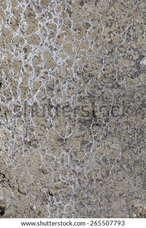 macro texture fragment of the concrete slab with cracks in the sunlight in the winter - stock photo