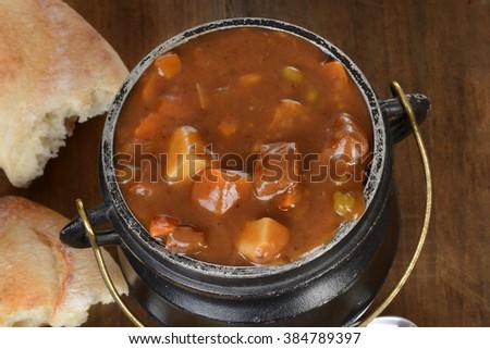 macro top view beef stew - stock photo