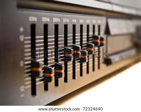Macro view of a hifi equalizer - stock photo
