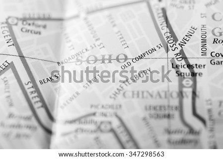 Macro view of a London map. - stock photo