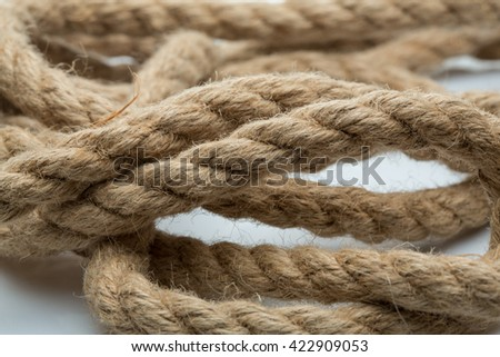 Macro view of a thick jute rope - stock photo