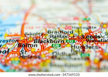 Macro view of Blackburn, United Kingdom on map. - stock photo