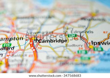 Macro view of Cambridge, United Kingdom on map. - stock photo
