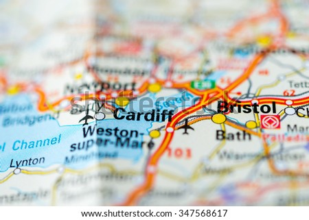 Macro view of Cardiff, United Kingdom on map. - stock photo