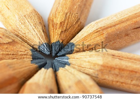 Macro view of group of lead pencils - stock photo