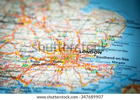 Macro view of London, United Kingdom on map. (vignette) - stock photo