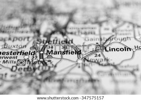 Macro view of Mansfield, United Kingdom on map. - stock photo