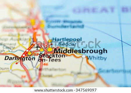 Macro view of Middlesbrough, United Kingdom on map. - stock photo