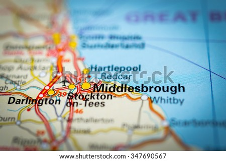 Macro view of Middlesbrough, United Kingdom on map. (vignette) - stock photo