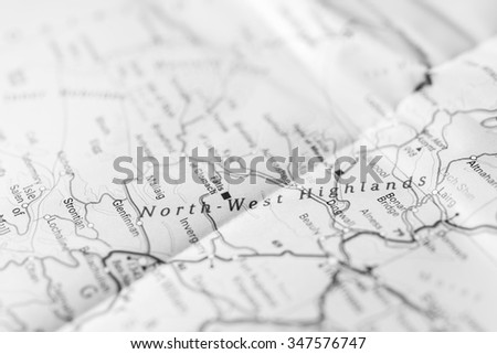Macro view of North-West Highlands, United Kingdom on map. - stock photo