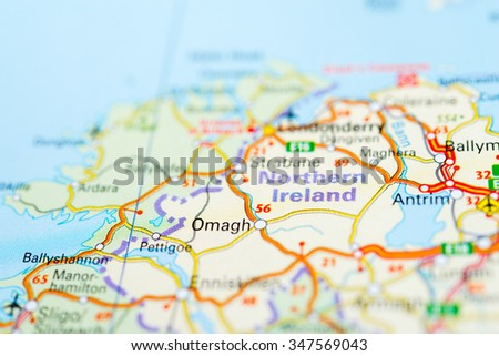 Macro view of Northern Ireland, United Kingdom on map. - stock photo