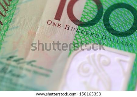 Macro view of One Hundred Australian Dollars Note - stock photo