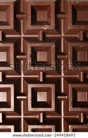 Macro view of plate of brown chocolate - stock photo