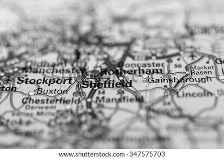 Macro view of Sheffield, United Kingdom on map. - stock photo