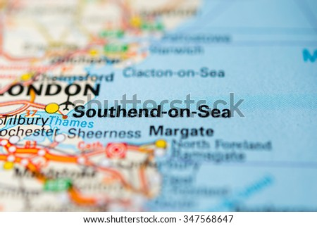 Macro view of Southend-on-Sea, United Kingdom on map. - stock photo