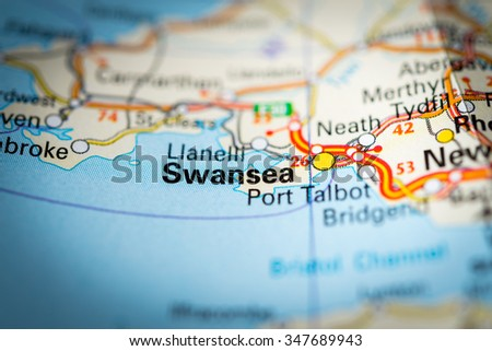Macro view of Swansea, United Kingdom on map. (vignette) - stock photo