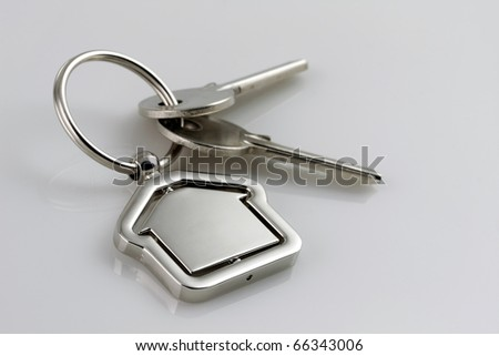 Macro view of two silver keys with house figure on the grey background - stock photo