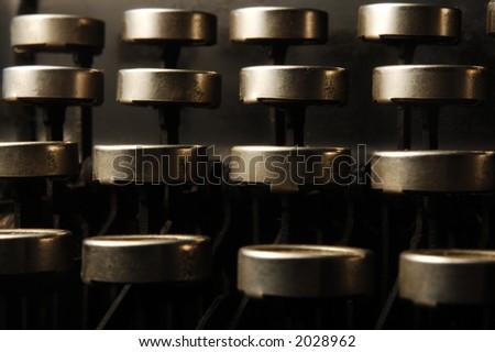 macro view of typewriter keys - stock photo