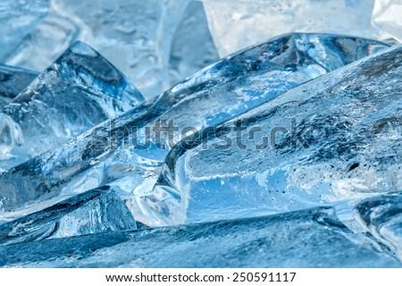 Macro winter scene from ice - stock photo
