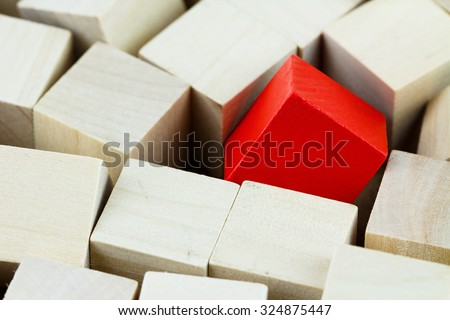 Macro yellow wood blocks that stand out. - stock photo