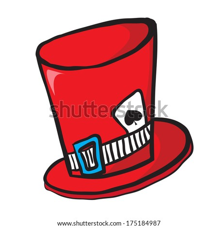 mad hatters hat with ace of spades isolated on white - stock photo