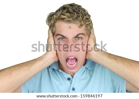 Mad Man: Very frustrated and angry mad man . Isolated on white background - stock photo