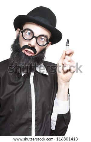Mad Scientist Holding Up Crayon For You To Write Your Own Smart Scientific Formula On White Background - stock photo