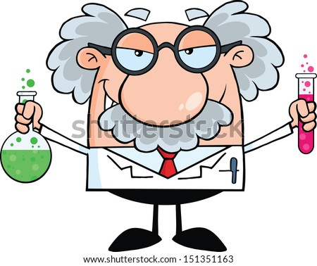 Mad Scientist Or Professor Holding A Bottle And Flask With Fluids. Raster Illustration - stock photo
