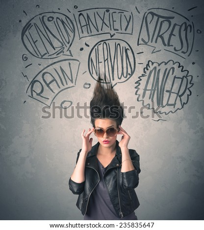 Mad young woman with extreme haisrtyle and speech bubbles concept on background - stock photo