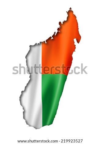 Madagascar flag map, three dimensional render, isolated on white - stock photo