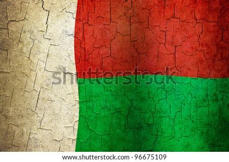 Madagascar flag on a cracked grunge background - stock photo