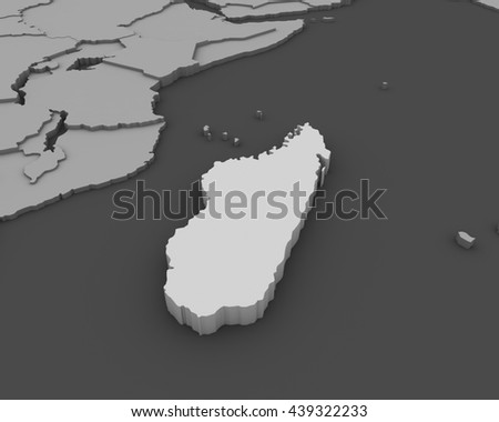 madagascar map 3D - stock photo