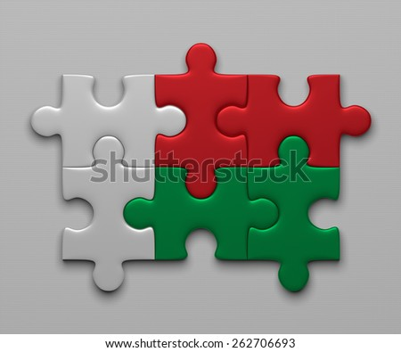 Madagaskar flag assembled of puzzle pieces on gray background - stock photo