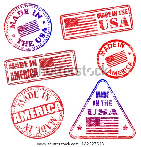 Made in America. Rubber stamp illustrations - stock photo