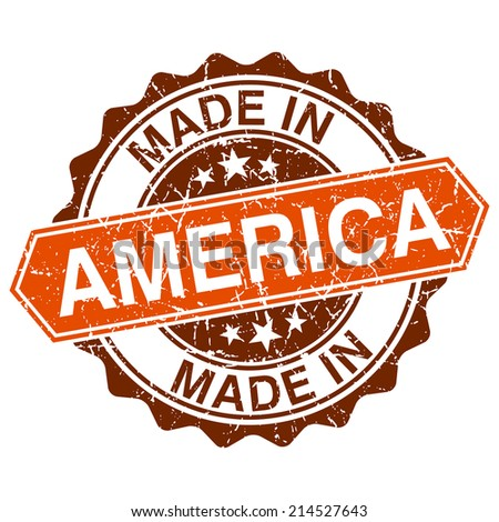 Made in America vintage stamp isolated on white background - stock photo