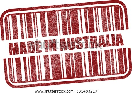 Made in Australia With Barcode And Shadow Red Grunge Stamp Isolated On White Background.  - stock photo