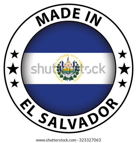 Made in badge with flag inside - El Salvador - stock photo