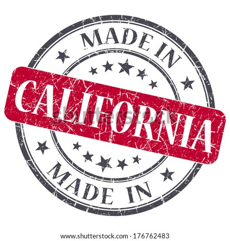 made in California red round grunge isolated stamp - stock photo