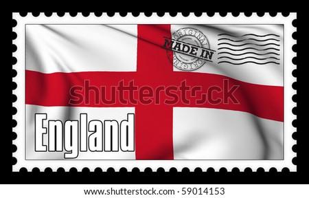 Made in England original stamp - stock photo