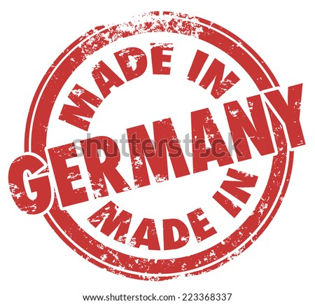 Made in Germany words in a round red stamp illustrating country national price in products produced or manufactured there - stock photo