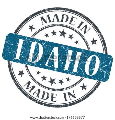 made in Idaho blue round grunge isolated stamp - stock photo